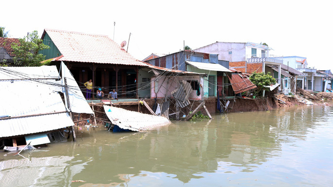 Landslides in the Mekong Delta causing serious erosion