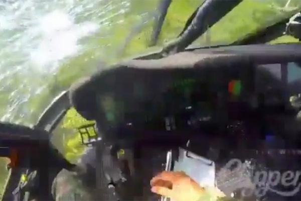 Thót tim cảnh tội phạm xả đạn trực thăng quân sự đang bay