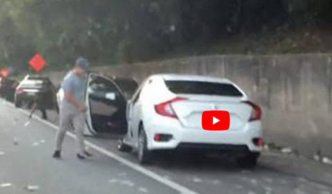 """Ô tô tấp vào đường cao tốc """"hôi của"""" hàng trăm ngàn USD"""
