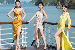 Dàn thí sinh Miss World Việt Nam trổ tài catwalk trên du thuyền 5 sao