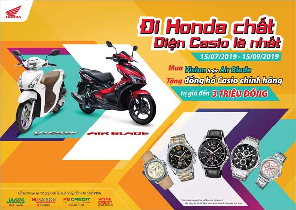 Mua xe ga Honda, nhận đồng hồ Casio