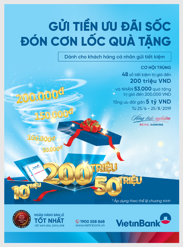 'Lốc' quà tặng dành cho khách gửi tiền VietinBank