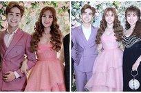 Trang điểm mặt trắng bốc trong đám cưới, Thu Thủy và chồng kém 10 tuổi bị ví như 2 pho tượng sáp