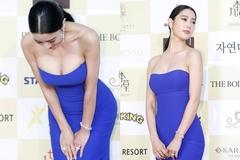Nữ diễn viên Hàn gây chú ý khi o ép vòng 1 quá khổ trên thảm đỏ