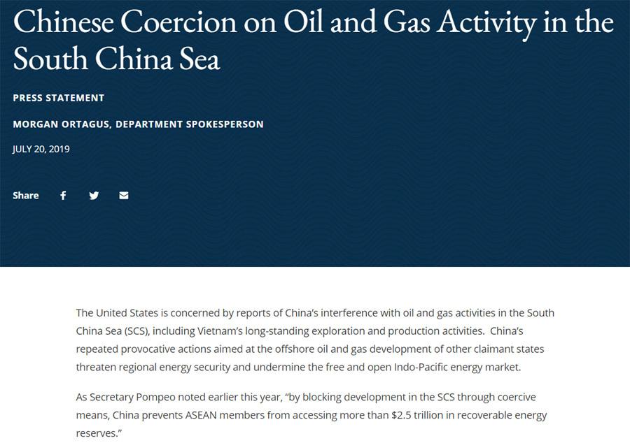Mỹ lên án hành động khiêu khích của Trung Quốc ở Biển Đông