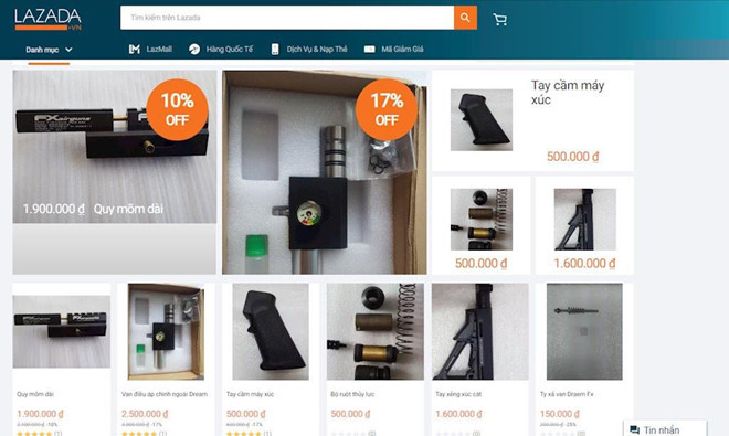 Thương nhân Trung Quốc bán thiết bị lắp ráp súng trên Lazada