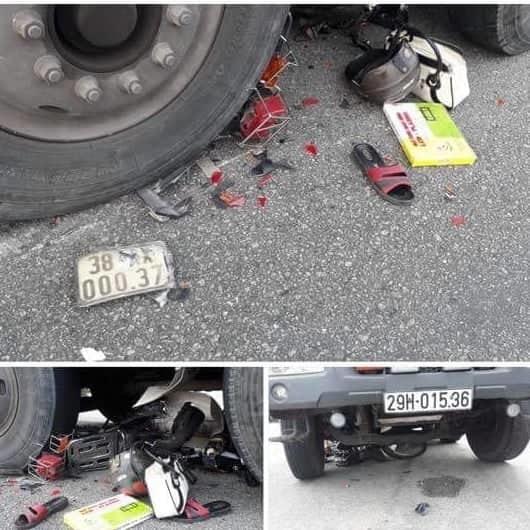Cụ bà Hà Tĩnh đi xe máy vượt đèn đỏ bị xe tải tông nhập viện