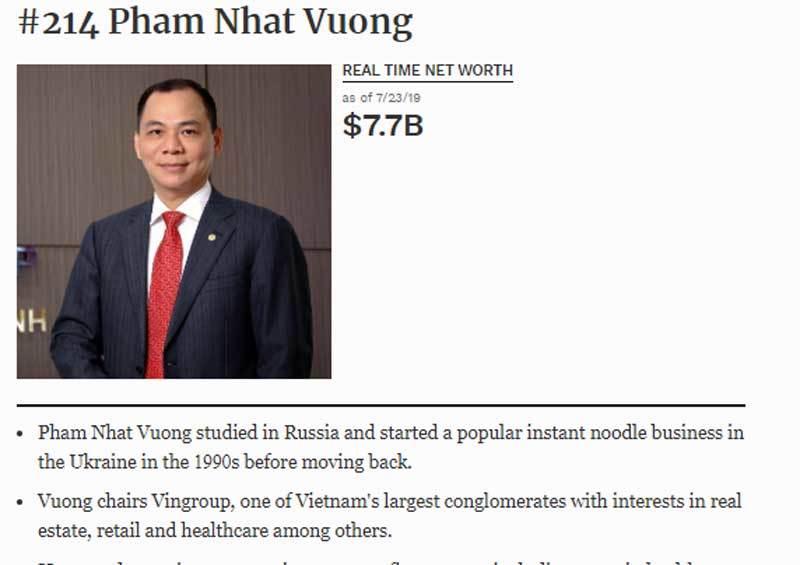 Tỷ phú Phạm Nhật Vượng chạm mốc 10 tỷ USD, họ 'nhà Vin' lập kỷ lục