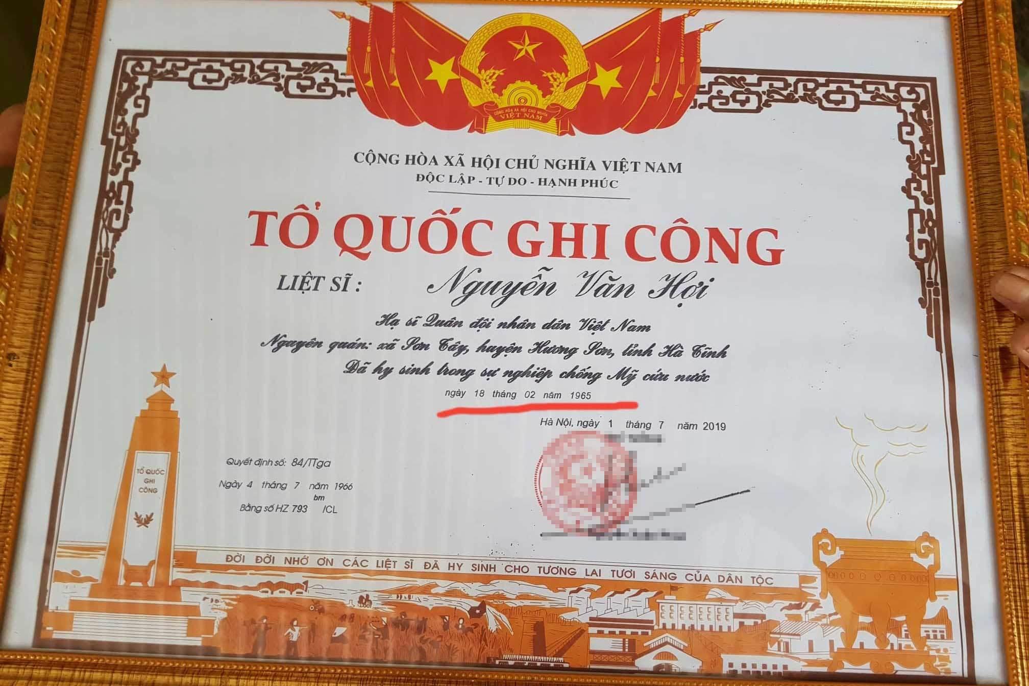 Bằng ghi công liệt sĩ 'hy sinh trước nhập ngũ' ở Hà Tĩnh lại tiếp tục sai