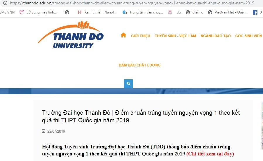 Điểm chuẩn,Điểm chuẩn đại học 2019