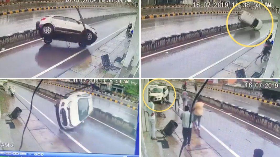 Ford EcoSport lộn nhiều vòng, tài xế tự mở cửa thoát ra ngoài