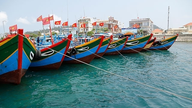 Crowded seaport in Ly Son island