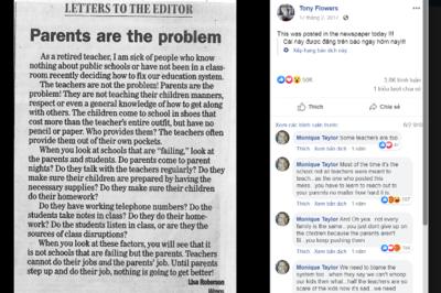 Cô giáo Mỹ viết thư chỉ trích phụ huynh làm giáo dục thất bại