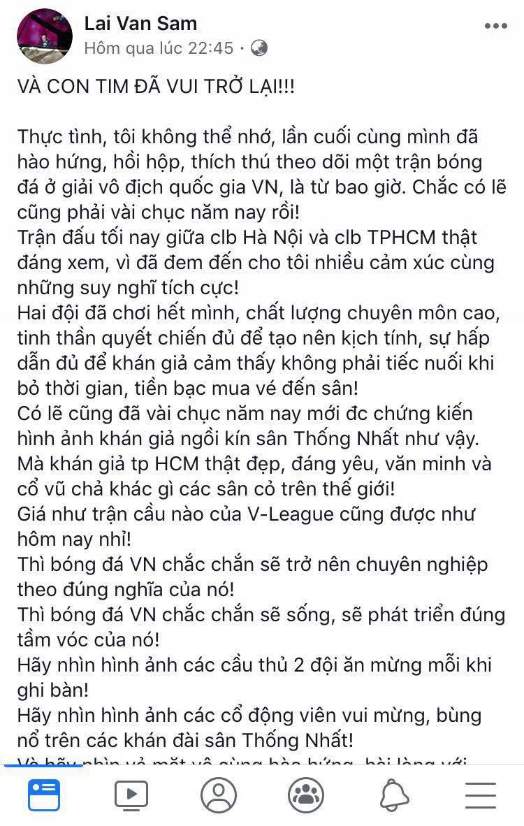 MC Lại Văn Sâm 'và con tim đã vui trở lại' sau trận 'chung kết' V.League