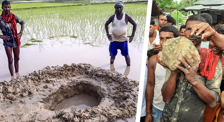 Thiên thạch rơi xuống ruộng lúa ở Ấn Độ