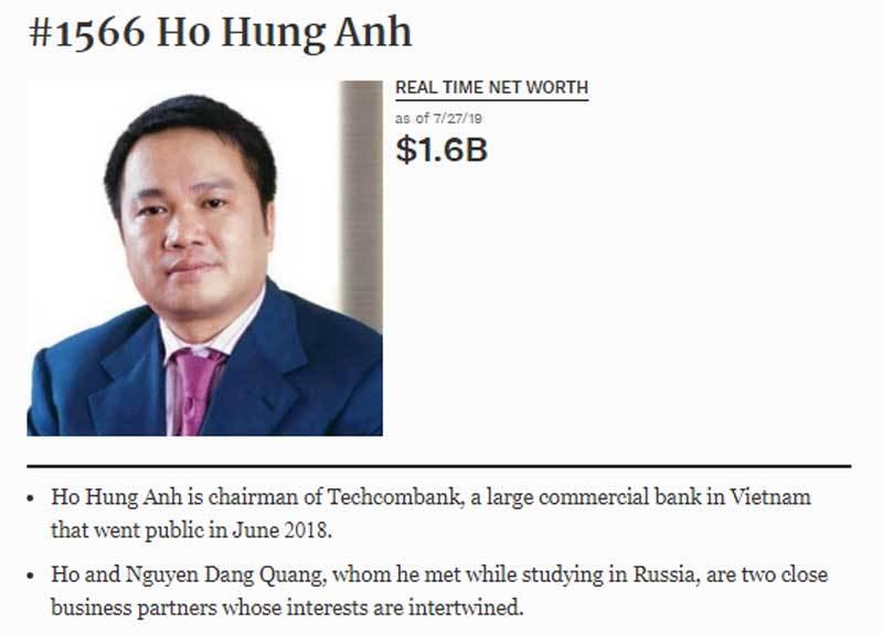 tin chứng khoán,chứng khoán,VN-Index,Techcombank,cổ phiếu ngân hàng,thị trường chứng khoán,Hồ Hùng Anh,tỷ phú USD,đại gia Việt,tỷ phú Việt