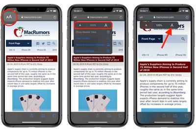 Cách tăng giảm cỡ chữ trên Safari không ảnh hưởng đến các thành phần web