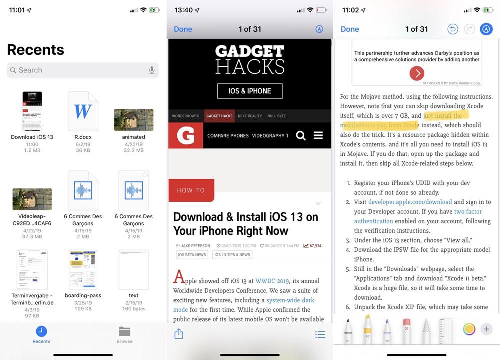 Cách chụp màn hình toàn bộ trang web trên iOS 13 và lưu thành PDF