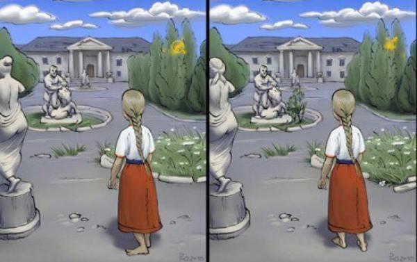 Đáp án tìm 7 điểm khác nhau trong hai bức tranh