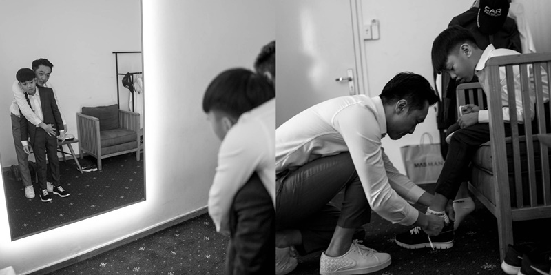 Cường Đô La thắt dây giày cho Subeo trước đám cưới với Đàm Thu Trang