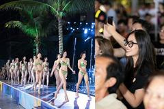Tiểu Vy để mặt mộc cổ vũ dàn người đẹp Miss World VN thi bikini