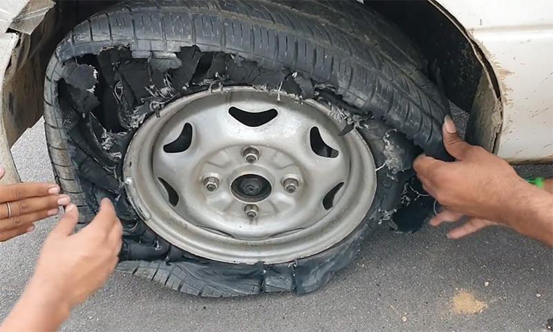 Cố lái xe với lốp xẹp lép, hậu quả ra sao?