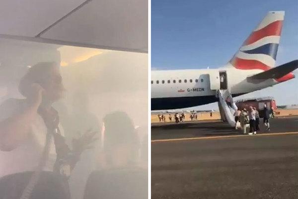 Máy bay Anh hạ cánh khẩn, khói mù mịt khắp khoang