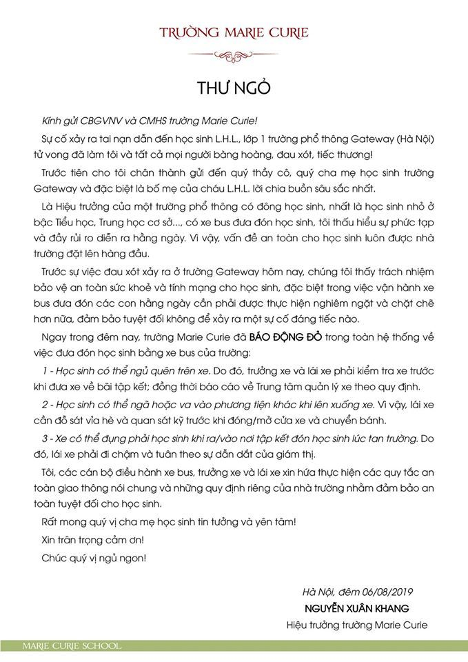 Trường Quốc tế Gateway,tử vong,Hà Nội,bỏ quên bé trên xe