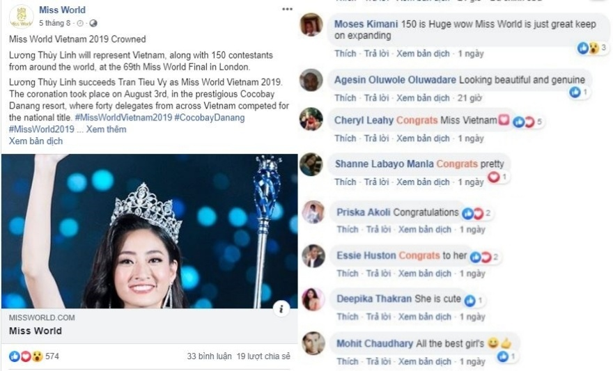 Miss World Vietnam,Miss World,Hoa hậu Thế giới Việt Nam,Hoa hậu Thế giới,Lương Thùy Linh