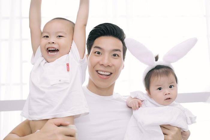 Quốc Nghiệp hạnh phúc bên bà xã Ngọc Mai và hai con