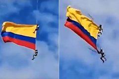 Video binh sĩ rơi chết khi rước quốc kỳ bằng trực thăng ở Colombia