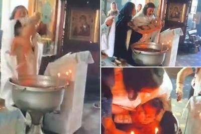 Video hãi hùng linh mục rửa tội như 'dìm  chết' em bé