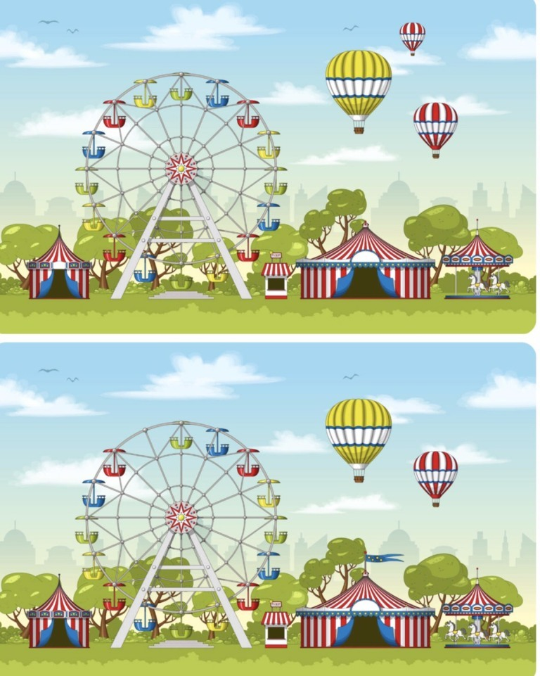 Thử tài tinh mắt, tìm 6 điểm khác biệt giữa 2 bức tranh