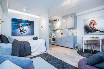 Căn hộ 45m2 thiết kế đẹp và lạ, đủ không gian riêng dành cho 4 người