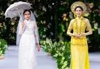 Mai Giang, Tiêu Ngọc Linh trình diễn áo dài cưới cùng Hoa hậu Myanmar