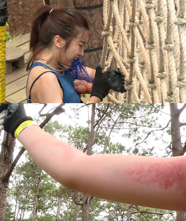 Đỗ Mỹ Linh trầy cánh tay, khóc tức tưởi trong Cuộc đua kỳ thú