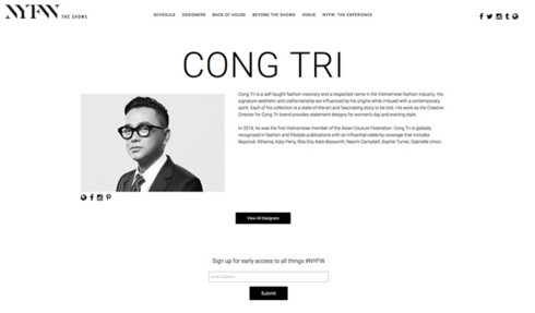 Designer Cong Tri to make New York Fashion Week return