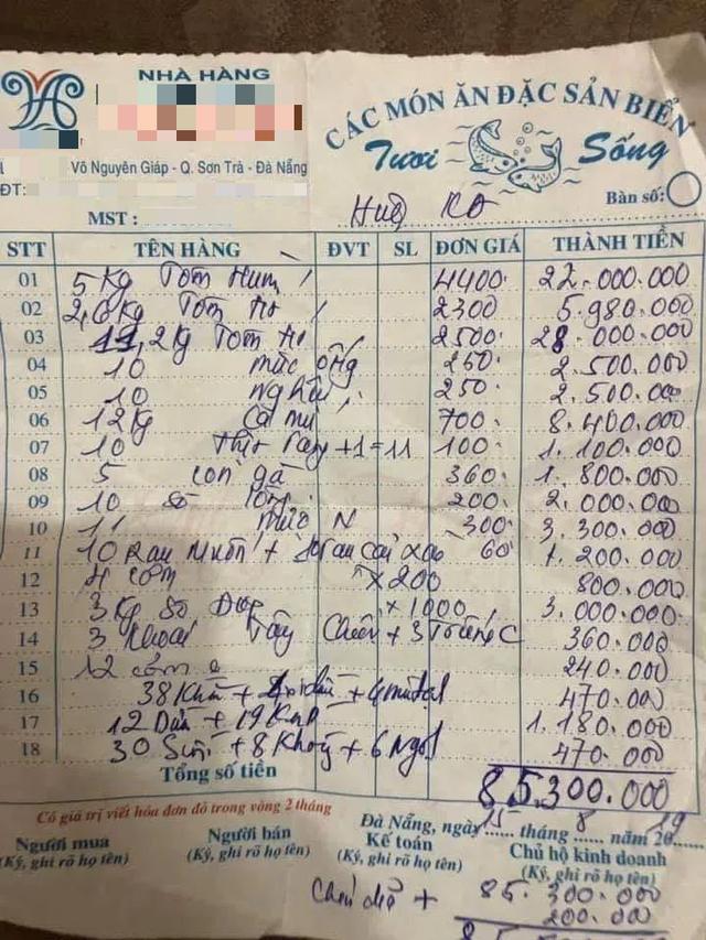 chặt chém,Đà Nẵng,chặt chém du khách,hóa đơn nhà hàng
