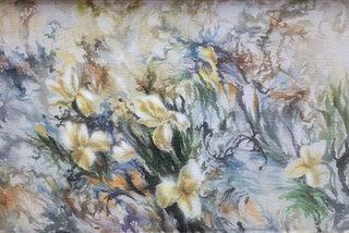 Veteran artists show silk paintings in Hanoi