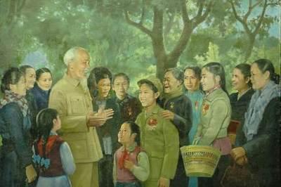 Những bức tranh đầy tôn kính của thế hệ hoạ sĩ Đông Dương nhớ về Bác Hồ