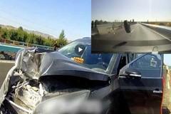 Xe tải lớn rơi lốp trên cao tốc, trúng vỡ đầu xe SUV