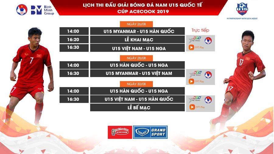 Lịch thi đấu bóng đá,U15 Việt Nam,U15 quốc tế 2019