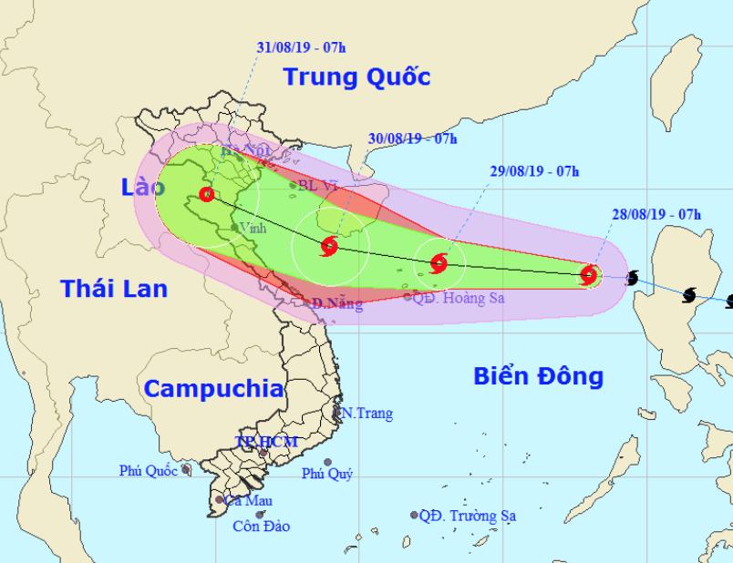 Bão số 4 - Podul (2019) liên tục mạnh thêm, hướng vào Thanh Hóa-Quảng Bình