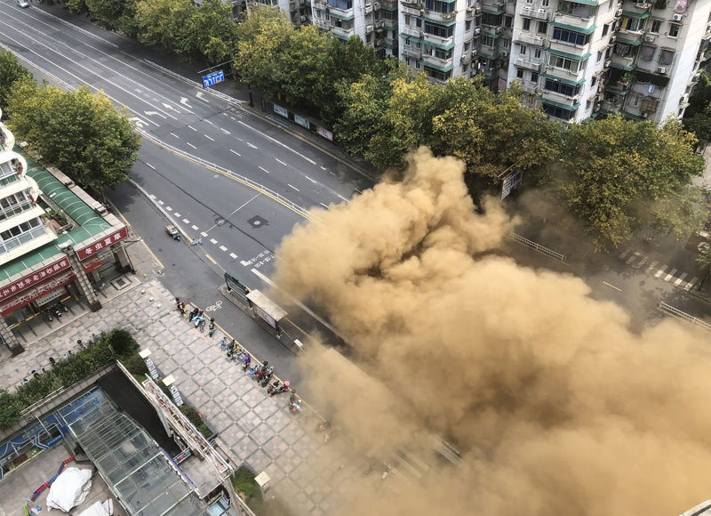 Trung Quốc,sập đường,rò khí đốt