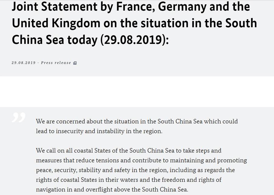 Pháp, Đức, Anh ra tuyên bố chung, lo ngại về tình hình Biển Đông