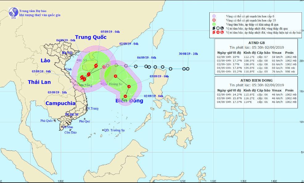 Áp thấp gần bờ khả năng thành bão số 5, Biển Đông hứng tiếp áp thấp