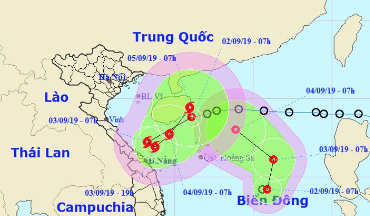 Đường đi của áp thấp nhiệt đới 'kép' dị thường trên Biển Đông
