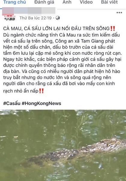 Facebook của quán trà ở Cần Thơ bịa chuyện 'cá sấu lớn trên sông'