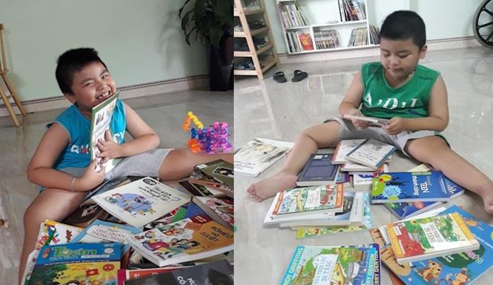 'Ông chủ' 8 tuổi ngồi xe lăn sở hữu thư viện sách mini ở Hải Dương