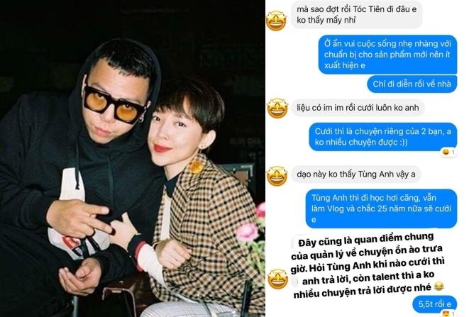 Quản lý lên tiếng chuyện đám cưới Tóc Tiên - Hoàng Touliver